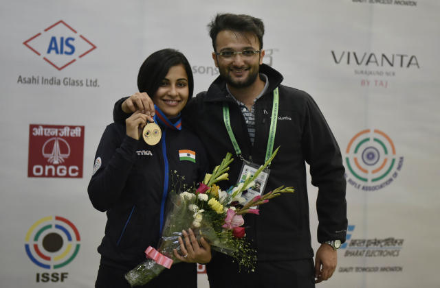 The first Indian pistol shooter to claim the No.1 spot in the world rankings married Ronak in 2013, who also happens to be her coach.