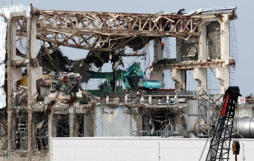 View of a stricken reactor at Tokyo Electric Power Co.'s (Tepco) Fukushima nuclear power plant in Okuma. Japan's prime minister at the time of the Fukushima nuclear crisis has apologised and said the government and its push for nuclear energy bore most of the responsibility for the disaster