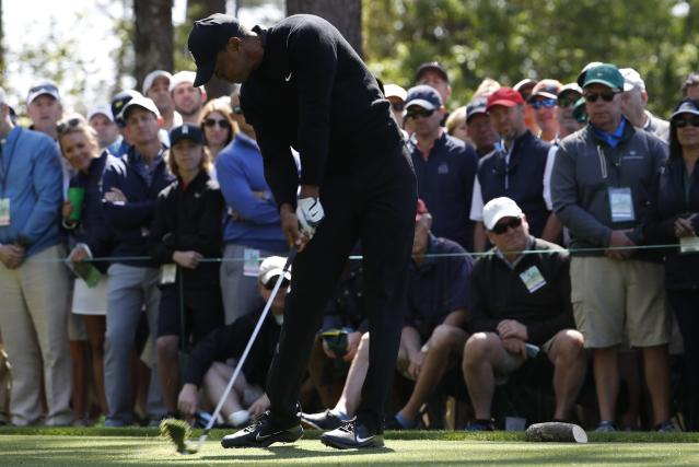 Tiger Woods of the U.S. tees hits off the fourth tee during first round play of the 2018 Masters golf tournament at the Augusta National Golf Club in Augusta, Georgia, U.S., April 5, 2018. REUTERS/Jonathan Ernst
