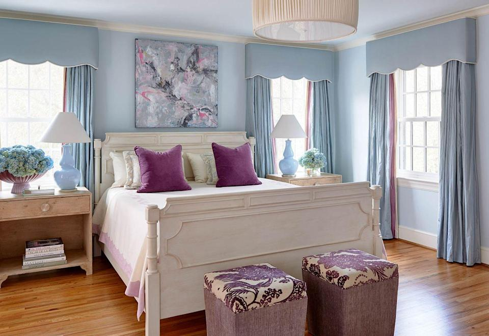 "<p>""Bedrooms are used from the start of the day until you put your head on the pillow at night, and the lighting should be from different sources that accommodate the levels—and direction—of illumination needed,"" says Charlotte-based designed <a href=""https://graywalkerinteriors.com/"" rel=""nofollow noopener"" target=""_blank"" data-ylk=""slk:Gray Walker"" class=""link rapid-noclick-resp"">Gray Walker</a>. ""I like to have a center chandelier if possible. A custom, pleated shade fixture with a diffuser is a soft look that I love in a bedroom. The diffuser softens and spreads the light more evenly created a warm glow that is especially cozy when softened by the pleats of fabric.""</p>"