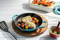 """<p><strong>Le Creuset</strong></p><p>amazon.com</p><p><strong>$99.95</strong></p><p><a href=""""https://www.amazon.com/dp/B086H55ZC4?tag=syn-yahoo-20&ascsubtag=%5Bartid%7C2089.g.34775365%5Bsrc%7Cyahoo-us"""" rel=""""nofollow noopener"""" target=""""_blank"""" data-ylk=""""slk:BUY NOW"""" class=""""link rapid-noclick-resp"""">BUY NOW</a></p><p>Since you've been spending <em>so </em>much time in the kitchen, you might as well fill your cabinets with some top-tier pots and pans. Le Creuset has been the gold standard of cookware, and you can currently save big ($70!) on this grill, which comes in tons of fun colors, too. </p>"""