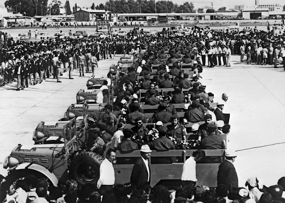 Coffins of Israeli olympic team victims of the Palestinian hostage-taking are transported on military vehicules at Lof airport, Israel, 08 September 1972. During the Munich 1972 Olympic Games, Palestinian terrorists of the