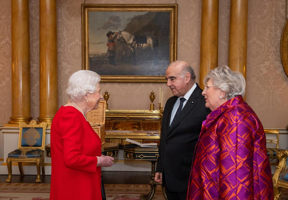 Queen Elizabeth II meets President of Malta George Vella and his wife Miriam Vella during an audience at Buckingham Palace, London.
