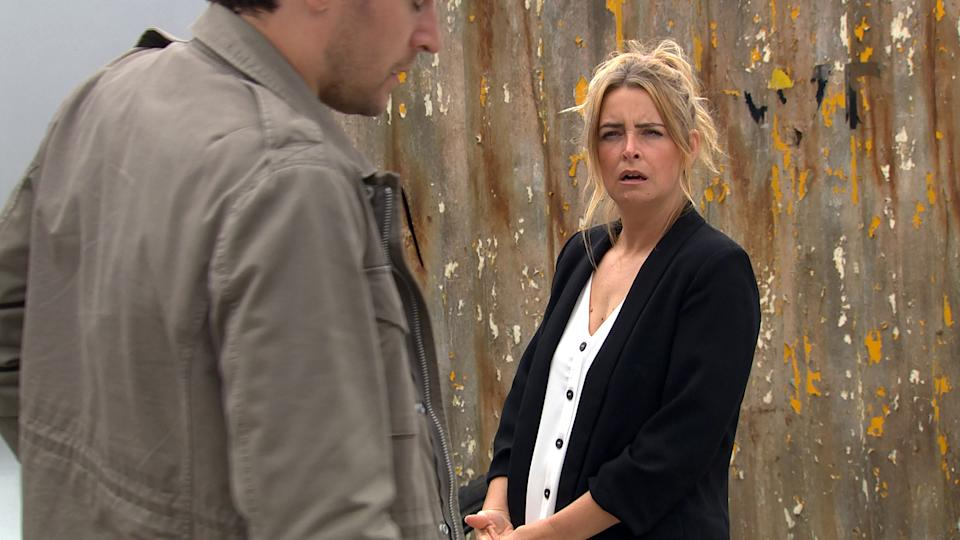 FROM ITV  STRICT EMBARGO  Print media - No Use Before Tuesday 3rd August 2021 Online Media - No Use Before 0700 Tuesday 3rd August 2021  Emmerdale - Ep 9121  Monday 9th August 2021  Charity Dingle [EMMA ATKINS] learns a delivery of smart watches have gone missing and she is quick to accuse Mackenzie [LAWRENCE ROBB] who denies all knowledge.   Picture contact David.crook@itv.com   This photograph is (C) ITV Plc and can only be reproduced for editorial purposes directly in connection with the programme or event mentioned above, or ITV plc. Once made available by ITV plc Picture Desk, this photograph can be reproduced once only up until the transmission [TX] date and no reproduction fee will be charged. Any subsequent usage may incur a fee. This photograph must not be manipulated [excluding basic cropping] in a manner which alters the visual appearance of the person photographed deemed detrimental or inappropriate by ITV plc Picture Desk. This photograph must not be syndicated to any other company, publication or website, or permanently archived, without the express written permission of ITV Picture Desk. Full Terms and conditions are available on  www.itv.com/presscentre/itvpictures/terms