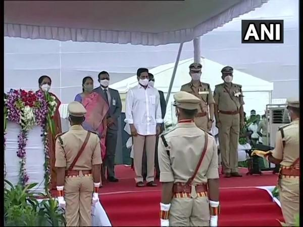 Andhra Pradesh Chief Minister Y S Jaganmohan Reddy at the Police Commemoration Day event in Vijayawada on Wednesday. (Photo/ANI)