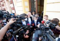 Czech Prime Minister and leader of ANO party, Babis, addresses the media in Lovosice