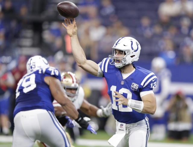 Indianapolis Colts quarterback Andrew Luck (12) throws against the San Francisco 49ers during the first half of an NFL preseason football game in Indianapolis, Saturday, Aug. 25, 2018. (AP Photo/Michael Conroy)