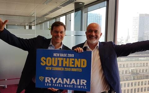 Stobart chief executive Warwick Brady (left) and Ryanair commercial chief David O'Brien