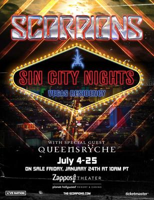 "Scorpions ""Sin City Nights"" With Special Guest Queensrÿche Headlining Las Vegas Residency Starts Saturday, July 4 At Zappos Theater At Planet Hollywood Resort & Casino"