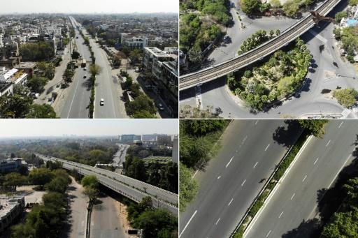This combination of aerial photos shows deserted roads in New Delhi during the first day of a 21-day government-imposed nationwide lockdown in India as a preventive measure against the new coronavirus