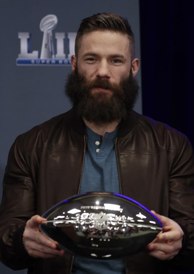 Super Bowl LIII MVP New England Patriots' Julian Edelman poses during a news conference for the NFL Super Bowl 53 football game Monday, Feb. 4, 2019, in Atlanta. The Patriots beat the Los Angeles Rams 13-3. (AP Photo/Morry Gash)