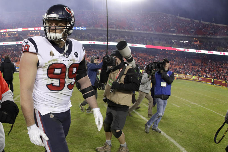 Houston Texans defensive end J.J. Watt (99) walks off the field after an NFL divisional playoff football game against the Kansas City Chiefs, Sunday, Jan. 12, 2020, in Kansas City, Mo. (AP Photo/Charlie Riedel)