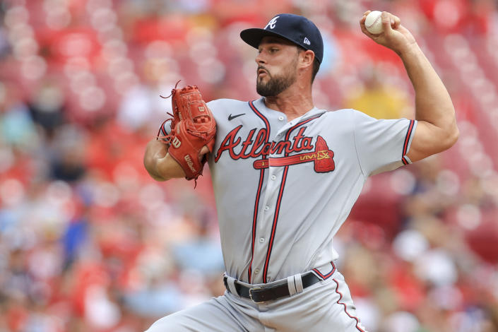 Atlanta Braves' Kyle Muller throws during the first inning of a baseball game against the Cincinnati Reds in Cincinnati, Sunday, June 27, 2021. (AP Photo/Aaron Doster)