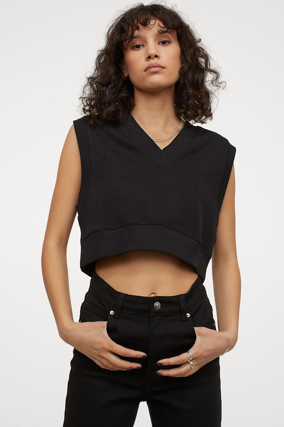 <p>You can style this <span>H&amp;M Crop Sweater Vest</span> ($13) on its own as a crop top.</p>