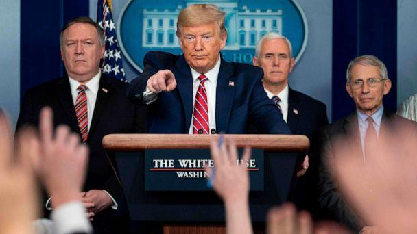 PHOTO: President Donald Trump takes a question during the daily briefing on the novel coronavirus at the White House, on March 20, 2020, in Washington. (Jim Watson/AFP via Getty Images)