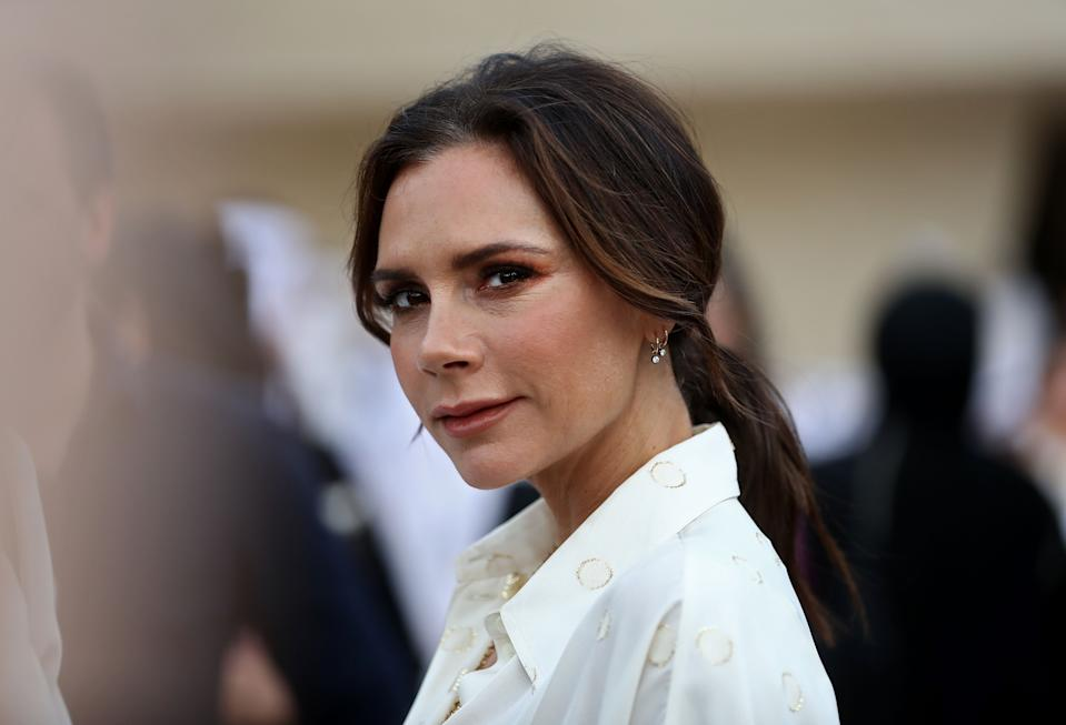 British singer and fashion designer Victoria Beckham attends the official opening ceremony for the National Museum of Qatar, in the capital Doha on March 27, 2019. - The complex architectural form of a desert rose, found in Qatars arid desert regions, inspired the striking design of the new museum building, conceived by celebrity French architect Jean Nouvel. (Photo by KARIM JAAFAR / AFP)        (Photo credit should read KARIM JAAFAR/AFP via Getty Images)