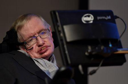 FILE PHOTO: British scientist and theoretical physicist Hawking attends a launch event for a new award for science communication in London