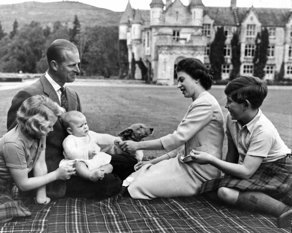 <p>Queen Elizabeth, Prince Philip, Prince Charles, Princess Anne, and Prince Andrew all lavish attention on a corgi.</p>