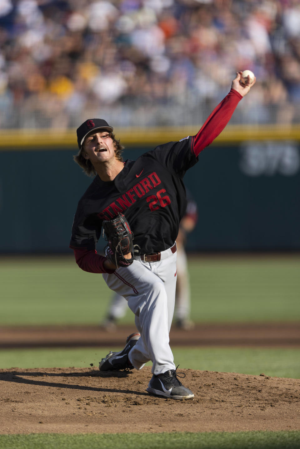 Stanford starting pitcher Quinn Mathews (26) throws against Vanderbilt in the first inning during a baseball game in the College World Series Wednesday, June 23, 2021, at TD Ameritrade Park in Omaha, Neb. (AP Photo/Rebecca S. Gratz)