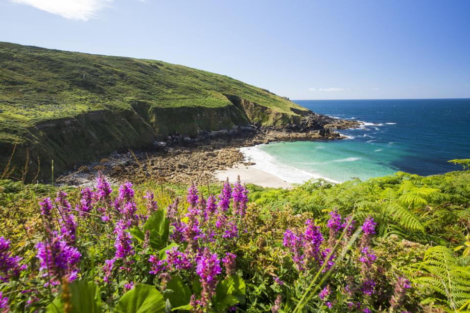 Amazing coastal scenery at Porthmeor Cove on the walk to Zennor. (Getty Images)