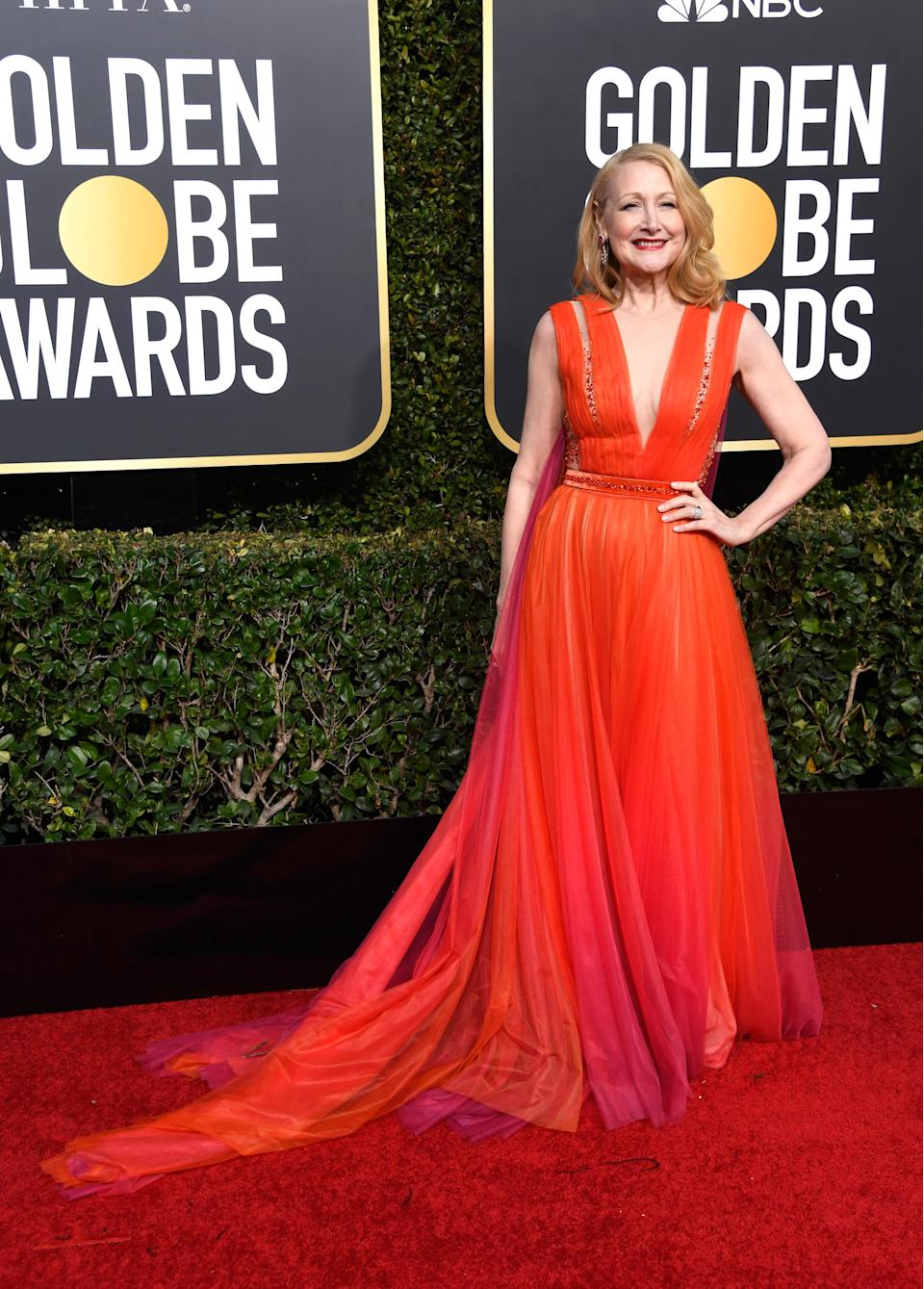 "<p>Clarkson (dressed in Georges Chakra) took home an award for her role in the HBO miniseries ""Sharp Objects.""<br>Image via Getty Images. </p>"