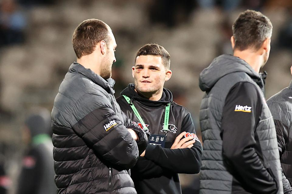Isaah Yeo and Nathan Cleary watch on during the warm-up before the round 14 NRL match between the Cronulla Sharks and the Penrith Panthers at Netstrata Jubilee Stadium, on June 11, 2021, in Sydney, Australia.
