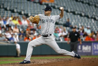 Seattle Mariners starting pitcher Wade LeBlanc throws to a Baltimore Orioles batter during the second inning of a baseball game Wednesday, June 27, 2018, in Baltimore. (AP Photo/Patrick Semansky)