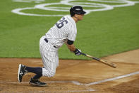 New York Yankees' DJ LeMahieu hits an RBI single during the second inning of a baseball game against the Toronto Blue Jays, in New York, Tuesday, Sept. 15, 2020. LeMahieu is a free agent. (AP Photo/Adam Hunger, File)