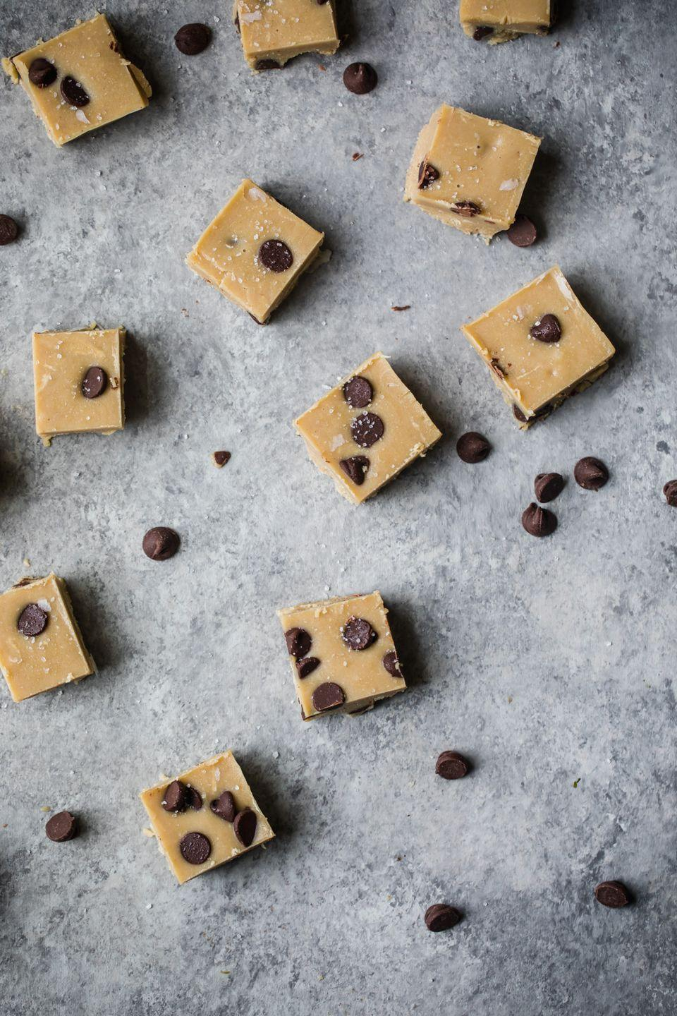 """<p>Tahini is absolutely perfect in this salty-sweet fudge. (Bonus: It's made with <em>just</em> tahini, coconut oil, maple syrup, and salt.)</p><p><a class=""""link rapid-noclick-resp"""" href=""""https://www.ambitiouskitchen.com/no-bake-salted-tahini-cookie-dough-fudge/"""" rel=""""nofollow noopener"""" target=""""_blank"""" data-ylk=""""slk:GET THE RECIPE"""">GET THE RECIPE</a></p><p><em>Per serving: 162 calories, 14 g fat (5.5 g saturated), 8.8 g carbs, 4.7 g sugar, 11.9 g fiber, 2.7 g protein</em></p>"""