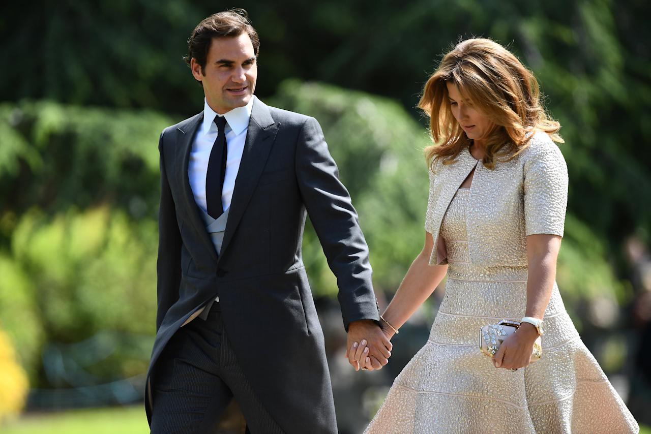 Tennis player Roger Federer and his wife Mirka attend the wedding of Pippa Middleton to James Matthews at St Mark's Church in Englefield, west of London, on May 20, 2017.    REUTERS/Justin Tallis/Pool