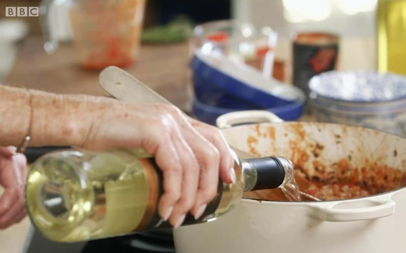 Mary Berry prefers white wine in her bolognese - Credit: BBC