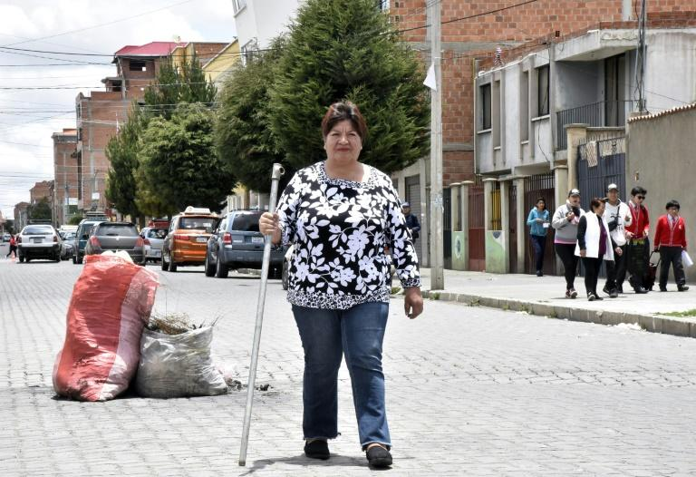 Mercedes Viricochea, a former local government secretary, defended her neighborhood during violent protests in Bolivia (AFP Photo/AIZAR RALDES)