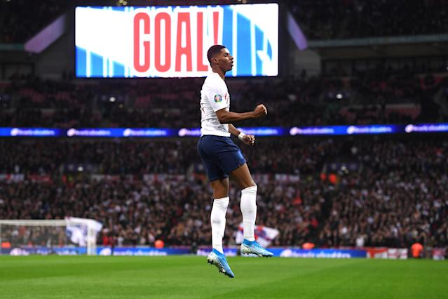 Marcus Rashford of celebrates continued his recent goalscoring form. (Photo by Laurence Griffiths/Getty Images)