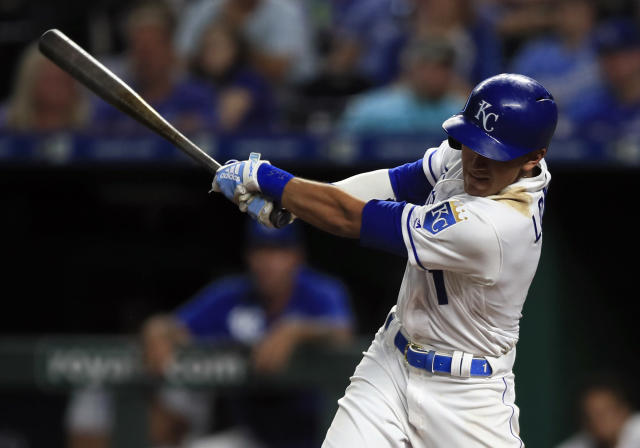 Kansas City Royals' Nicky Lopez hits an RBI-single during the sixth inning of a baseball game against the Chicago White Sox at Kauffman Stadium in Kansas City, Mo., Monday, July 15, 2019. (AP Photo/Orlin Wagner)
