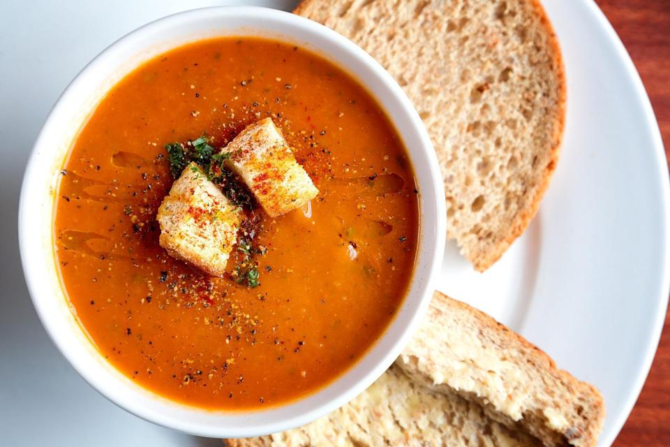 """<p>You <a href=""""https://www.thedailymeal.com/cook/50-best-cold-soups-crisp-salads-and-other-hot-weather-fare-0?referrer=yahoo&category=beauty_food&include_utm=1&utm_medium=referral&utm_source=yahoo&utm_campaign=feed"""" rel=""""nofollow noopener"""" target=""""_blank"""" data-ylk=""""slk:don't have to turn on the stove"""" class=""""link rapid-noclick-resp"""">don't have to turn on the stove</a> to make this gazpacho. Follow this recipe for a traditional Spanish soup featuring bright tomatoes and bell peppers.</p> <p><a href=""""https://www.thedailymeal.com/gazpacho-0-recipe?referrer=yahoo&category=beauty_food&include_utm=1&utm_medium=referral&utm_source=yahoo&utm_campaign=feed"""" rel=""""nofollow noopener"""" target=""""_blank"""" data-ylk=""""slk:For the Gazpacho recipe, click here."""" class=""""link rapid-noclick-resp"""">For the Gazpacho recipe, click here.</a></p>"""