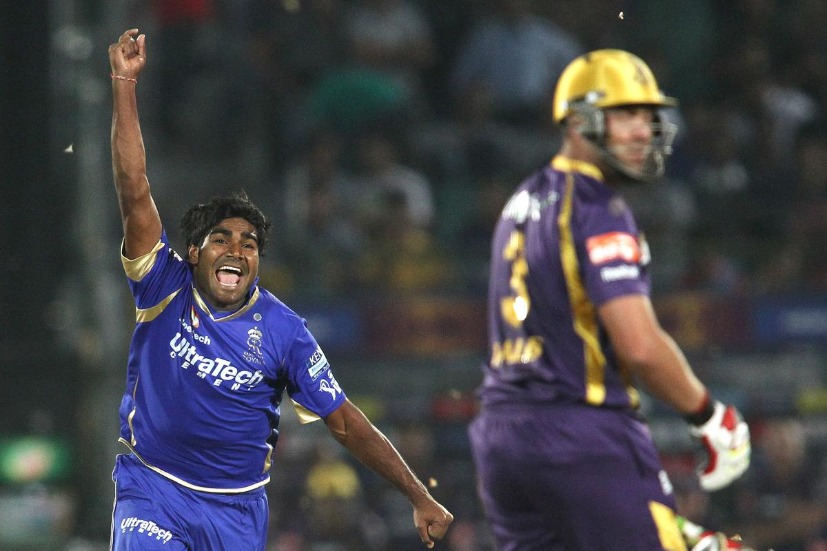 Rahul Shukla of Rajasthan Royals celebrates after getting Jacques Kallis of Kolkata Knight Riders wicket during match 8 of the the Pepsi Indian Premier League ( IPL) 2013 between The Rajasthan Royals and the Kolkata Knight Riders held at the Sawai Mansingh Stadium in Jaipur on the 8th April 2013..Photo by Shaun Roy-IPL-SPORTZPICS..Use of this image is subject to the terms and conditions as outlined by the BCCI. These terms can be found by following this link:..https://ec.yimg.com/ec?url=http%3a%2f%2fwww.sportzpics.co.za%2fimage%2fI0000SoRagM2cIEc&t=1492978406&sig=9C8UoL1xQ.Gmc7mO51Pd.g--~C