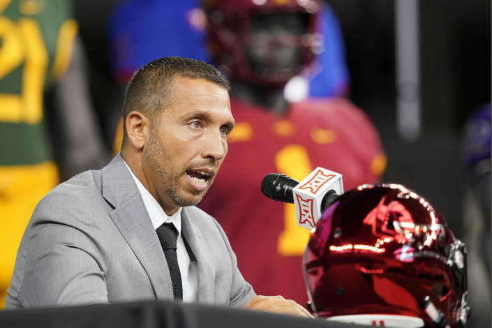 Iowa State head football coach Matt Campbell speaks from the stage during NCAA college football Big 12 media days Wednesday, July 14, 2021, in Arlington, Texas. (AP Photo/LM Otero)