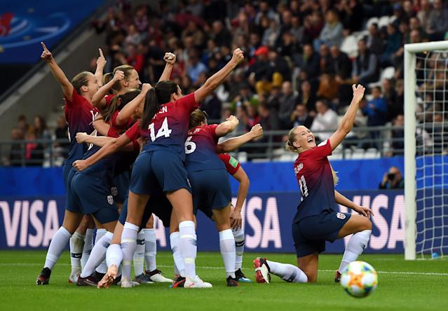 Lisa-Marie Utland of Norway celebrates with teammates after scoring her team's second goal during the 2019 FIFA Women's World Cup France group A match between Norway and Nigeria at Stade Auguste Delaune on June 08, 2019 in Reims, France. (Photo by Alex Caparros - FIFA/FIFA via Getty Images)