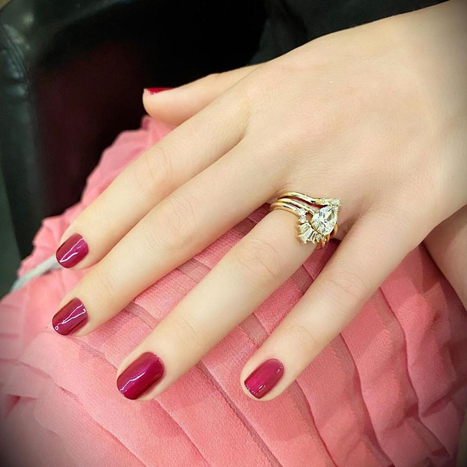 Potentially the most heartbreaking nail look of them all, Margot Robbie's reflective, berry-colored nails are the work of nail artist Tom Bachik, who used a mix of two discontinued Chanel nail varnishes: Temptation and Provocation.