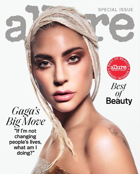 Lady Gaga is talking about the transformative power of makeup in the October issue of Allure. (Photo: Allure)