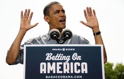 US President Barack Obama speaks during a campaign event at Wolcott House Museum Complex in Maumee, Ohio. Obama Thursday heralded his first re-election campaign bus tour with a new trade blast at China and fresh accusations his White House foe Mitt Romney helped send US jobs abroad