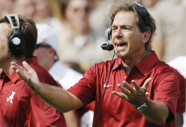 Alabama head coach Nick Saban reacts on the sideline during the second quarter of an NCAA college football game against Texas A&M Saturday, Sept. 14, 2013 in College Station, Texas. (AP Photo/David J. Phillip)