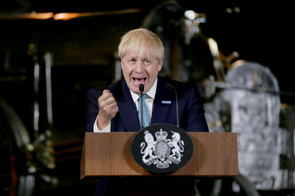 Britain's Prime Minister Boris Johnson gestures during a speech on domestic priorities at the Science and Industry Museum in Manchester, Britain July 27, 2019. Lorne Campbell/Pool via REUTERS