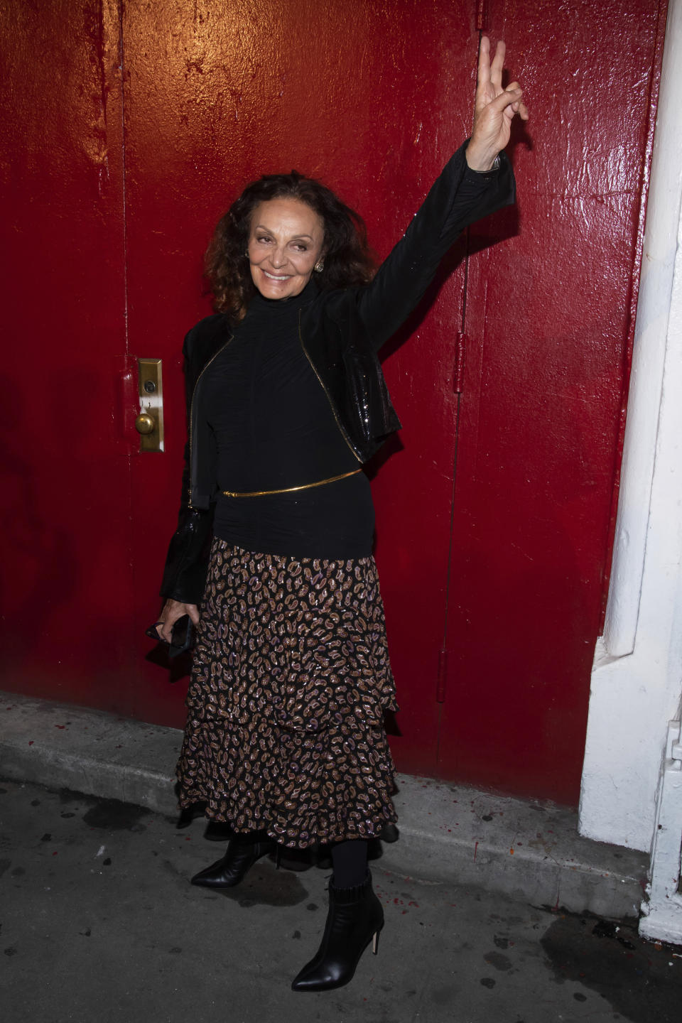 Diane von Furstenberg arrives to the Tom Ford show during Fashion Week on Monday, Sept. 9, 2019 in New York. (Photo by Charles Sykes/Invision/AP)