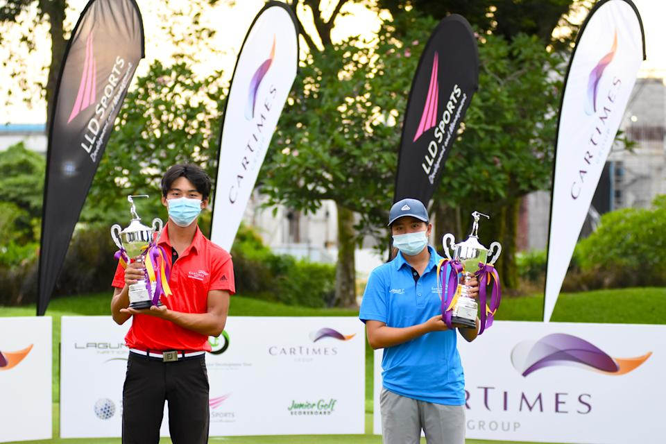 The top winners of the Singapore Junior Development Tour Championship: Sean Lee (left) and Shannon Tan. (PHOTO: SJDT)