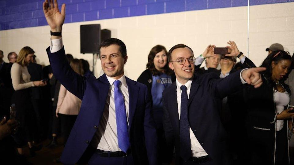Buttigieg (left) pictured with his husband during his failed presidential campaign