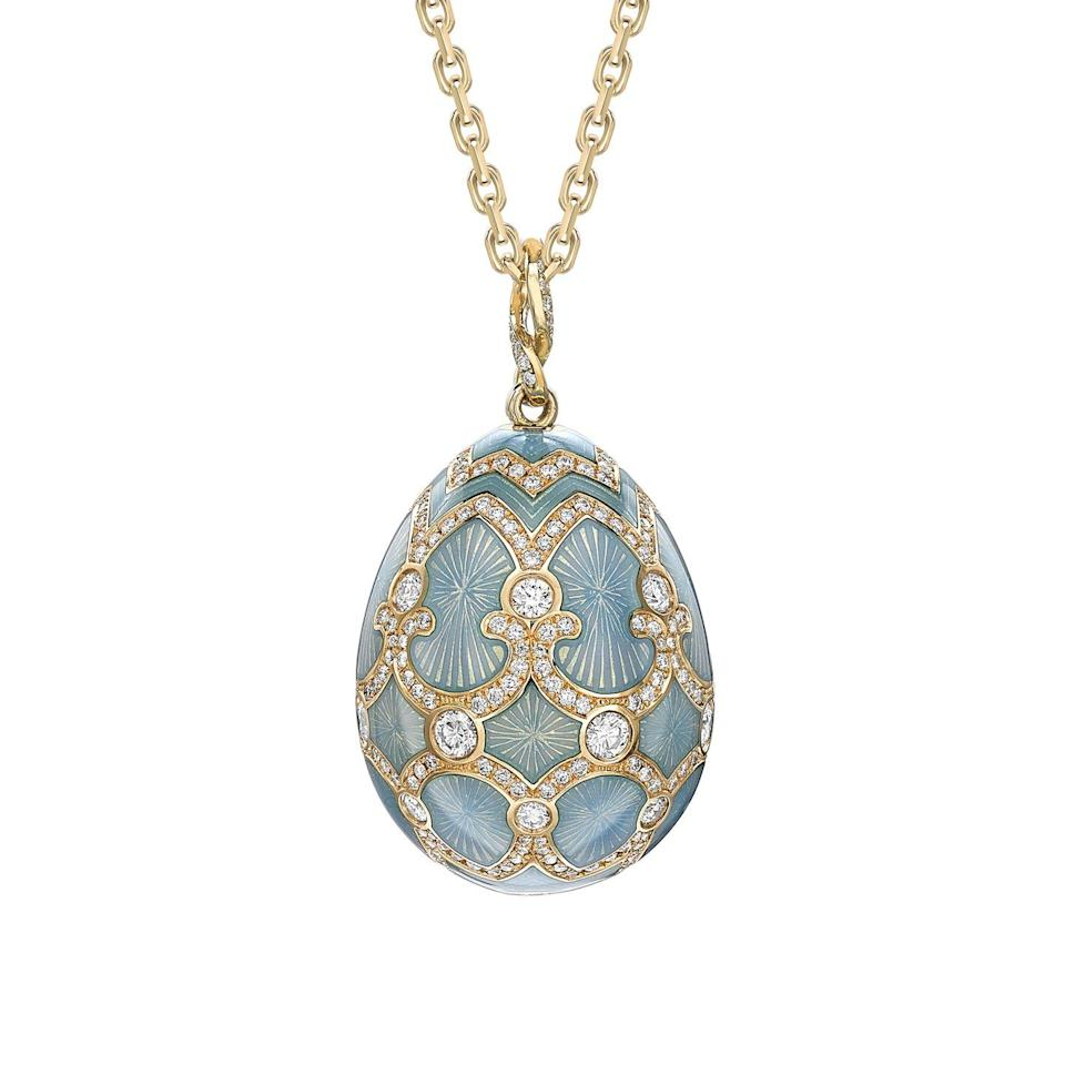 "<p>Easter eggs come in many forms, but perhaps the most glamorous hails from the world of Fabergé. Playful, and bank-account busting, the fine jewellery house has reimagined its magnificent imperial eggs as a fine medley of pendants. Our favourite is the heritage gold, diamond and turquoise guilloché enamel egg. Luxurious with round white diamonds set in 18 karat gold, it is the ultimate Easter showstopper. </p><p>From a selection, <a href=""https://www.faberge.com/jewellery/egg-pendants/yellow-gold-turquoise-tsarskoye-selo-26mm-pendant-2130"" rel=""nofollow noopener"" target=""_blank"" data-ylk=""slk:Fabergé"" class=""link rapid-noclick-resp"">Fabergé</a>.</p><p><a class=""link rapid-noclick-resp"" href=""https://www.faberge.com/jewellery/egg-pendants/yellow-gold-turquoise-tsarskoye-selo-26mm-pendant-2130"" rel=""nofollow noopener"" target=""_blank"" data-ylk=""slk:SHOP NOW"">SHOP NOW</a><br></p>"