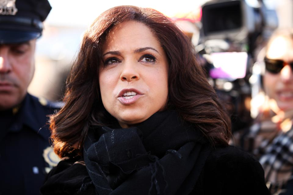 NEWARK, NJ - FEBRUARY 18: CNN's Soledad O'Brien covers Whitney Houston's funeral on February 18, 2012 in Newark, New Jersey. Whitney Houston was found dead in her hotel room at The Beverly Hilton hotel on February 11, 2012. (Photo by Michael Roman/FilmMagic)