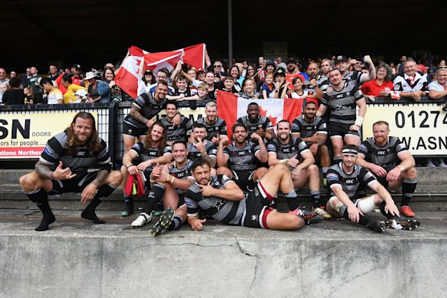 The Toronto Wolfpack team after the victory (Photo by George Wood/Getty Images)