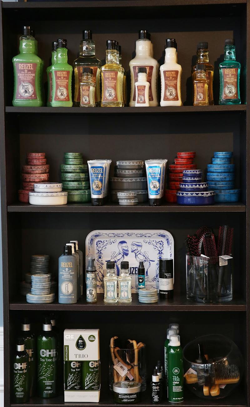 Products on a shelf at The Fine Men's Salon of Westchester in Mamaroneck April 18, 2019.